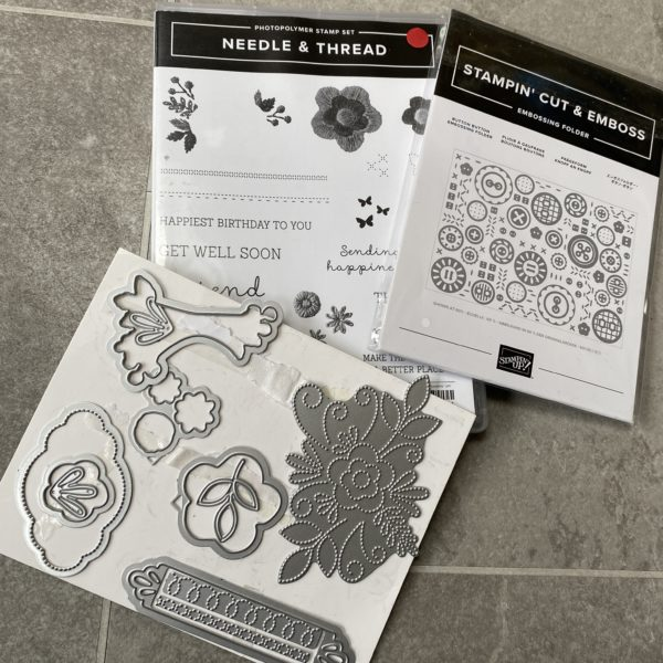Needle & thread stamps, dies and embossing folder